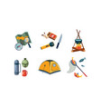 fishing and camping icons set map compass vector image vector image
