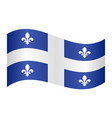 flag of quebec waving on white background vector image vector image