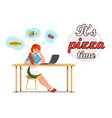 flat banner its pizza time mom in kitchen vector image