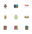 flat icons calculate date bookshop and other vector image vector image