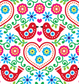 Folk art seamless pattern with flowers and birds vector image vector image