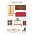 furniture shop wood board with sofa bookcase desk vector image