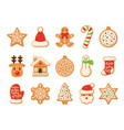 gingerbread christmas gingerbreads santa and cane vector image