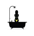 girl shower in bikini silhouette vector image vector image