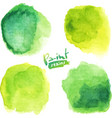 Green watercolor painted stains set
