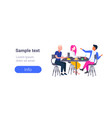 group of college students eating lunch together vector image