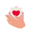 hand with letter envelope isolated icon vector image vector image