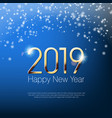 happy new year 2019 snowy greeting card template vector image