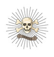 human skull with bones crossed and vector image