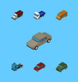 isometric car set of autobus truck armored and vector image vector image