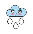 kawaii nice tender cloud raining vector image vector image