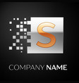 letter s logo symbol in the golden-silver square vector image vector image