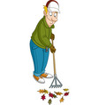man raking leaves vector image vector image