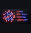neon sign hashtag stay home vector image