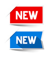 New Red and Blue Paper Labels - Stickers Set vector image