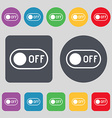 off icon sign A set of 12 colored buttons Flat vector image vector image