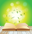 Open book on wood over light background vector image