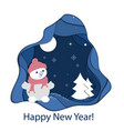 paper art landscape of christmas and happy new vector image vector image