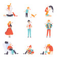 people caring feeding and playing with their cats vector image vector image