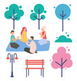 people playing cards game in park trees nature vector image vector image