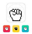 Pixel fist icon vector image vector image