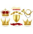 realistic heraldic symbols golden crowns king vector image