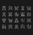 robot dog simple white line icons set vector image