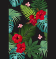 seamless pattern tropical leaves with red vector image