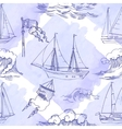 Seamless pattern with waves and ships vector image vector image