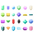 set of 16 diamonds gemstone icons vector image