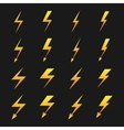 Set of yellow lightnings isolated over black vector image