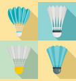 shuttlecock icon set flat style vector image