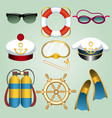 summer beach vacation cartoon emblem set vector image