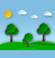 sunny nature landscape with trees and meadow in vector image