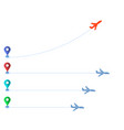 track of planes and colored markers vector image