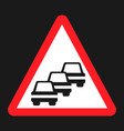 traffic congestion sign flat icon vector image vector image