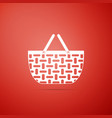 wicker basket icon shopping basket symbol vector image