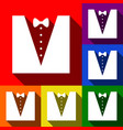 tuxedo with bow silhouette set of icons vector image