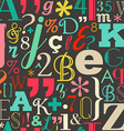 Retro color letters seamless pattern background vector image