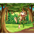 A monkey playing with the vine trees in the middle vector image vector image