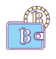 bitcoin symbon in the wallet with coin money vector image vector image