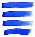 Blue ink brush strokes vector image
