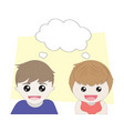 boy and girl thinking with balloon concept vector image