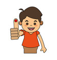 boy with finger pricked vector image