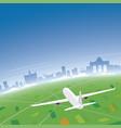 brussels skyline flight destination vector image vector image