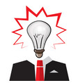 bulb head with businessman suit smart idea design vector image