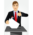 businessman putting ballot in vote box vector image vector image
