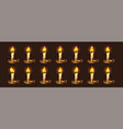 cartoon burning candles in candlestick animation vector image