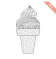 cartoon hand drawn ice cream in waffle vector image vector image