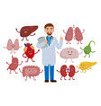 cheerful doctor and healthy organs cartoon vector image vector image